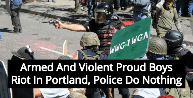Proud Boys Stage Violent Riot In Portland, Police Do Nothing (Image via Twitter)