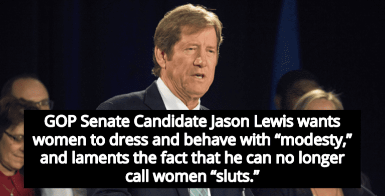 GOP Senate Candidate Jason Lewis Is Sad He Can't Call Women 'Sluts' Anymore (Image via YouTube)