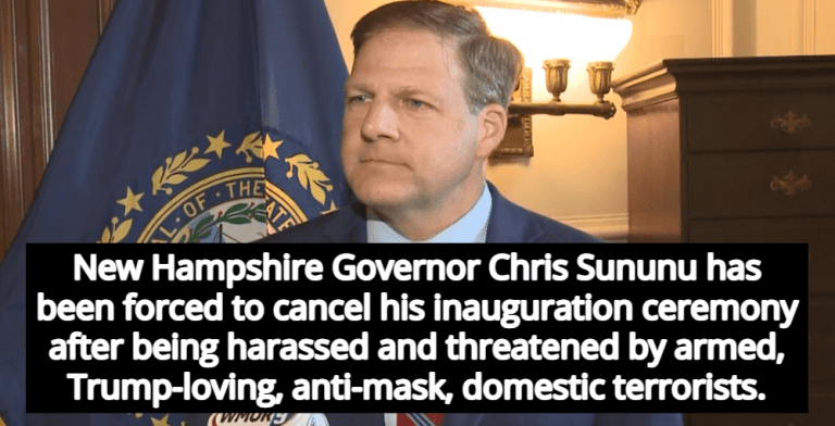 N.H. Gov. Cancels Inauguration Ceremony After Threats From Armed Anti-Mask Protestors (image via Twitter)