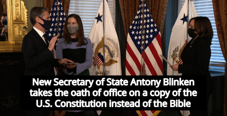 Secretary Of State Antony Blinken Takes Oath On Constitution Instead Of Bible (Image via Screen Grab)