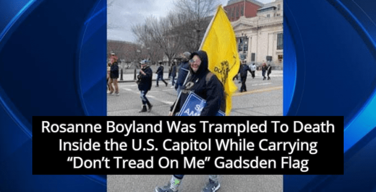 Pro-Trump Terrorist Trampled To Death In U.S. Capitol Was Carrying 'Don't Tread On Me' Flag (Image via Twitter)