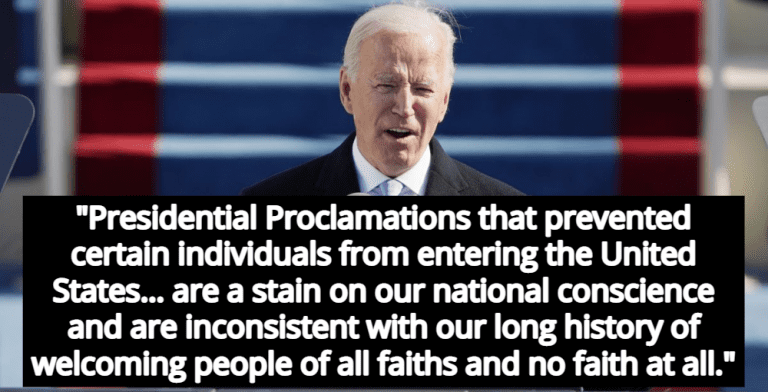 Biden Recognizes Atheists While Lifting Muslim Travel Ban In New Executive Order (Image via YouTube)
