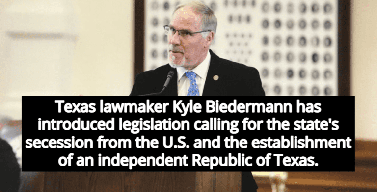 Republic of Texas: GOP Lawmaker Files Bill For Texas Secession From United States (Image via Office of State Rep. Kyle Biedermann)