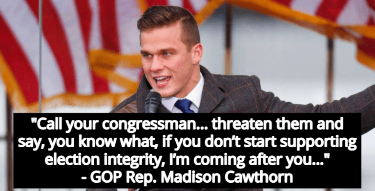 GOP Rep. Madison Cawthorn Encouraged Trump Supporters To 'Threaten' Lawmakers (Image via YouTube)