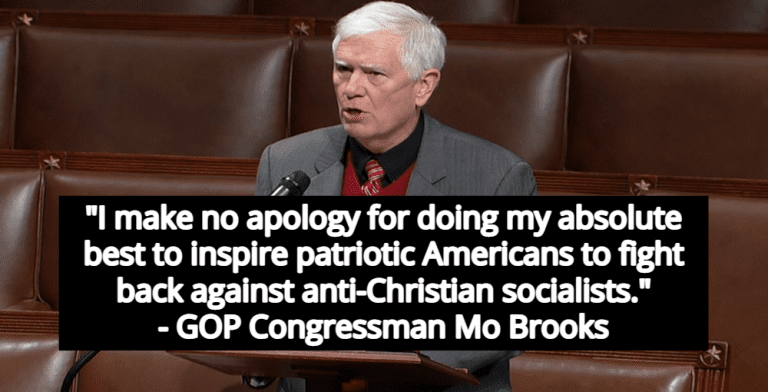 Mo Brooks Defends Speech Calling On Terrorists To 'Kick Ass' Before Insurrection (Image via Screen Grab)