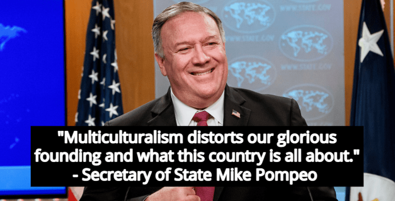 Mike Pompeo Rejects 'Multiculturalism' Tacitly Endorses White Supremacy (Image via YouTube)