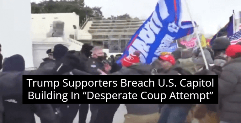 Trump Supporters Storm Capitol, Attack Police In 'Desperate Coup Attempt' (Image via Twitter)