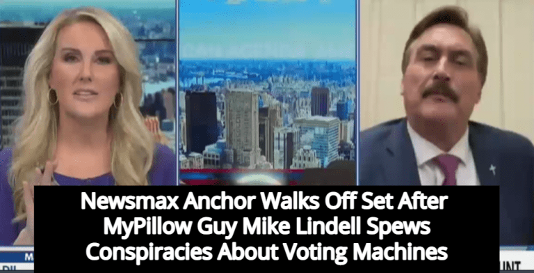 MyPillow Guy Mike Lindell Melts Down On Newsmax, Host Walks Off Set In Disgust (Image via Screen Grab)