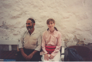 Me with a tiny man outside tiny synagogue, outside Orthodox quarter of Jerusalem. June 1990.