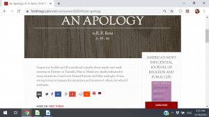 Screenshot of RR Reno's apology