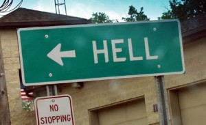 Sign leading to Hell, Michigan.