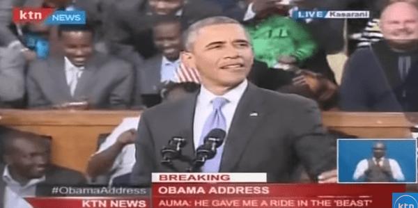President Obama speaking in Kenya (Photo: Screenshot from Youtube, KTN News Kenya)