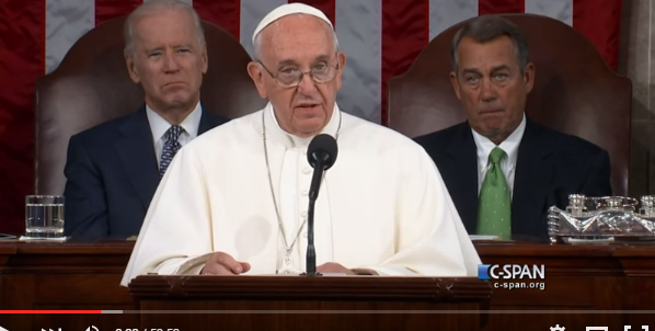 Pope Francis addresses the U.S. Congress. (Photo: Screenshot from C-SPAN YouTube channel)