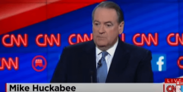 Mike Huckabee at the Republican Presidential Debate, December 16, 2015 (Screen shot from YouTube)