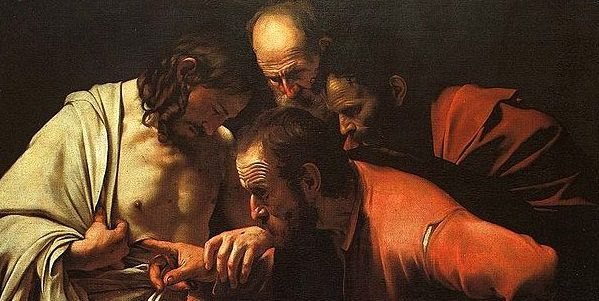 "Image: ""The Incredulity of Thomas"" by Caravaggio, public domain, Wikipedia"