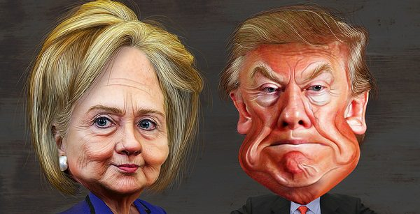 Image: Flickr, Donkey Hotey, Hillary Clinton vs. Donald Trump – Caricatures, Creative Commons License, some changes made.