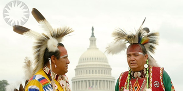 SI Neg. 2002-15248. Date: 2002. Native Americans on the National Mall with the Capitol Building in the background. Credit: James Di Loreto (Smithsonian Institution)