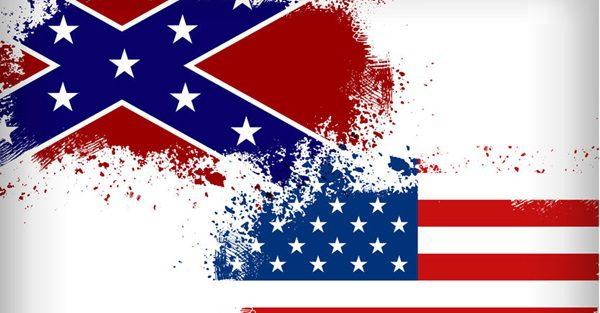 29983314 - confederate flag vs. union flag. civil war concept