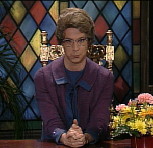 "Dana Carvey as ""The Church Lady."" Sorry, but she sort of fits the hype of the Walmart story. Unless there's more info that hasn't been documented publicly. Source: Google Images, license for reuse."
