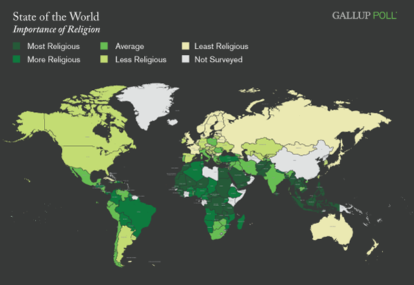Maps Importance Of Religion Around The World George G Coe