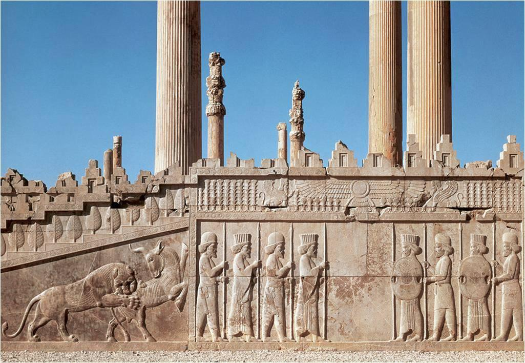 Relief sculptures from the Apadana, begun by King Darius and finished by King Xerxes, Persepolis, Iran.
