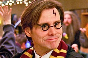 "Jim Carrey dressed as Harry Potter in the film ""Yes Man"""