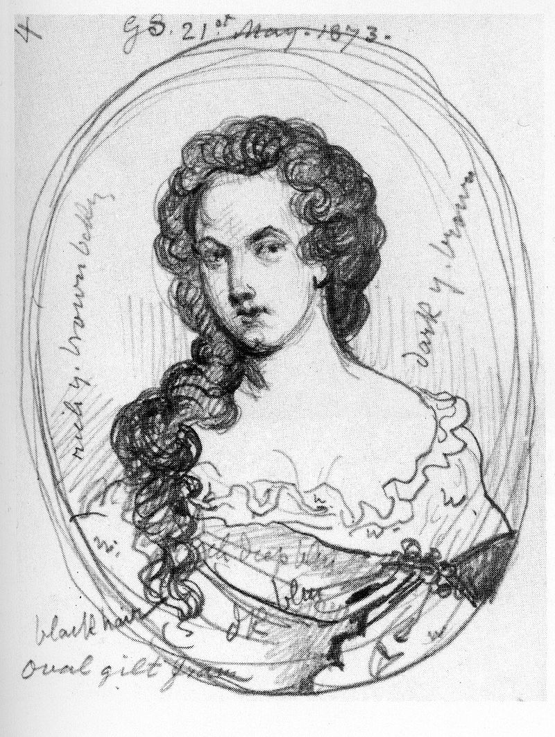 Sketch of Aphra Behn by George Scharf