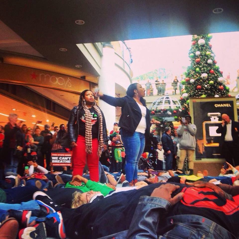"La'die Mansfield, left, and Marypat Hector, leading a ""die-in"" in Atlanta, Georgia. Photo by Kathie."