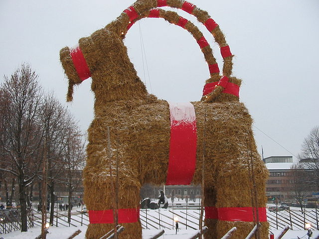 I am including this photo not because it really has anything to do with my post, but because a giant Yule Goat which you set on fire is inherently awesome.