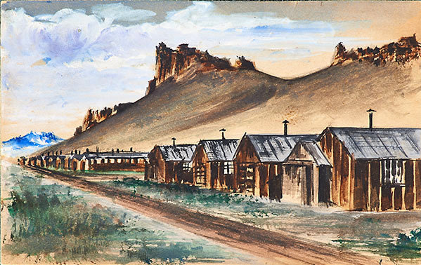 Watercolor by unknown Japanese-American artist