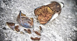 Shattered beer bottle