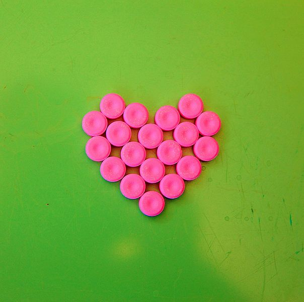 "Image: ""Pretty Pink & Green Heart"" by D. Sharon Pruitt, from Wikimedia Commons, December 7, 2009"