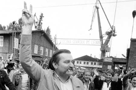 Smoking! Lech Walesa leaves Gdansk's Shipyard to meet with Pope John Paul II.