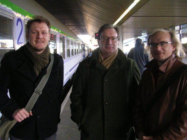 On the day of his departure from Krakow Marion (middle) was having the best hair day between me and the poet Artur Grabowski.