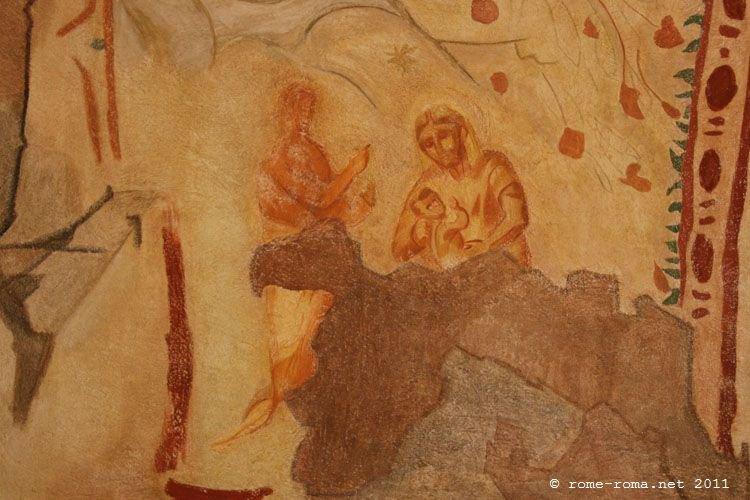This is possibly the first image of Mary and Child. Priscilla Catacombs in Rome. Probably third century.