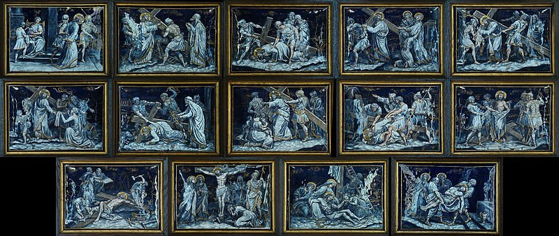 Stations of the Cross in Church of Notre-Dame-des-Champs, Avranches, Manche, Normandie, France.
