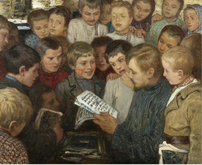 You don't have to be czarist peasant to read these books.  (Bogdanov-Belsky, Rural School, 1890, Wikimedia Commons, PD-old-100)