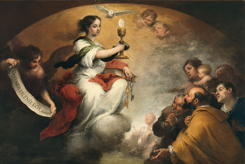 Look here everybody! (Bartolome Esteban Murillo, Faith or The Church Triumphant, 1665; Source: Wikimedia Commons, PD-Old-100)