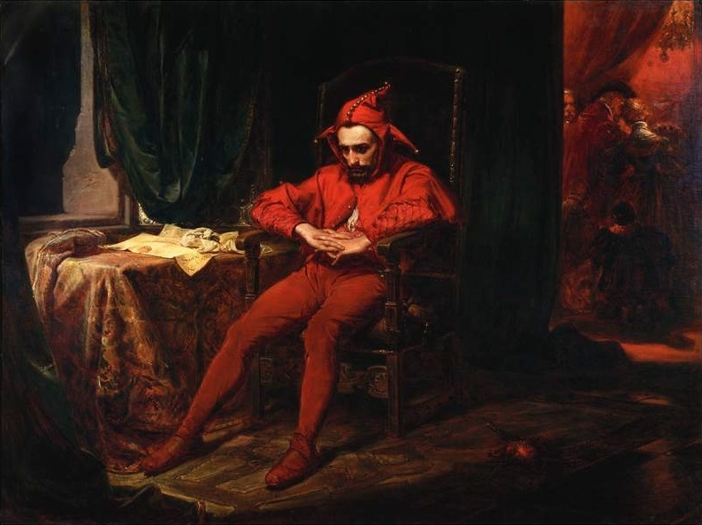 Apparently there are no classical paintings with tinfoil hats, so here's the Polish king's court jester. (Source: Jan Matejko, Stańczyk, 1862; Wikimedia Commons, PD-Old-100)