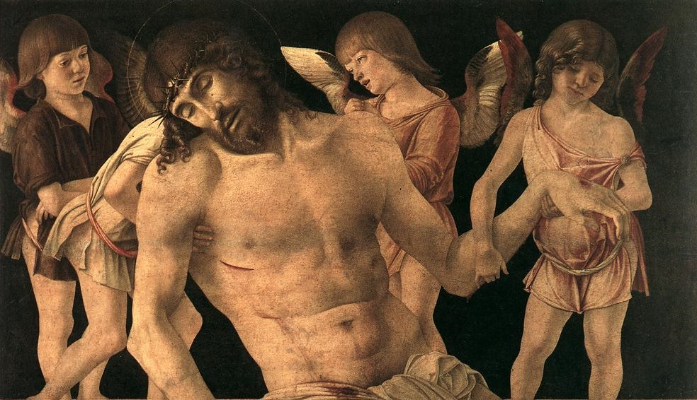 The liveliness and youth of the angels puts the Death of God in all the starker perspective. (Source: Giovanni Bellini, Pietà, 1474; Wikimedia Commons, PD-Old-100).