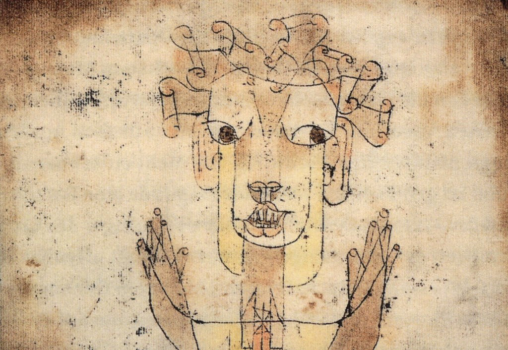"What Walter Benjamin says here equally applies to unpacking: ""This is how one pictures the angel of history. His face is turned toward the past. Where we perceive a chain of events, he sees one single catastrophe which keeps piling wreckage upon wreckage and hurls it in front of his feet."" (Paul Klee, Angelus Novus, 1920; Source: Wikimedia Commons, PD-Old-70, PD-USA, registered before 1923)"