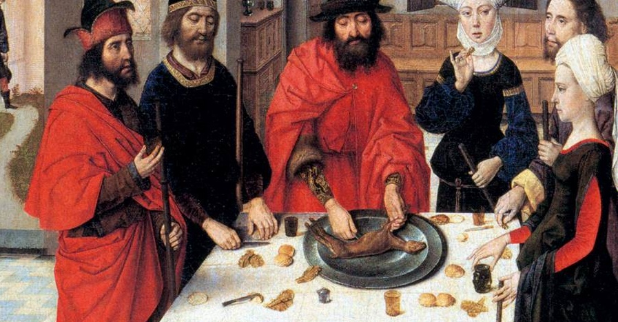 The Lamb is broken (Dieric Bouts, The Feast of the Passover, 1467; Source: Wikimedia Commons, PD-Old-100)