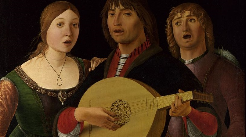 No atheist song singing was to be found, so this will have to do (Lorenzo Costa, A Concert, 1495; Source: Wikimedia Commons, PD-Old-100).