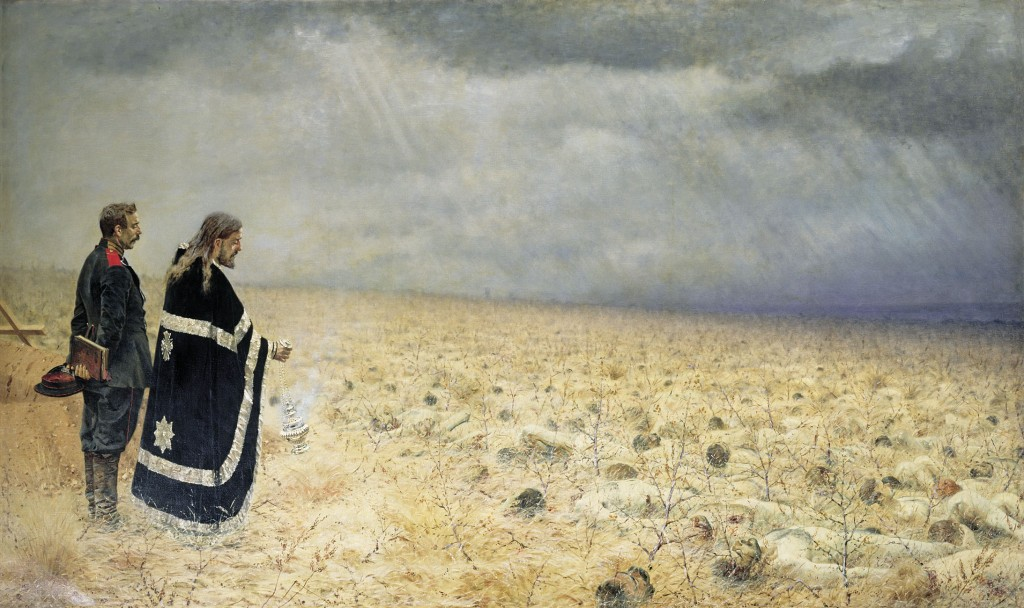 The seed is falling on fallow ground in Russia (Vasily Vereshchagin, Memorial Service, 1879; Source: Wikimedia Commons, PD-Old-100).