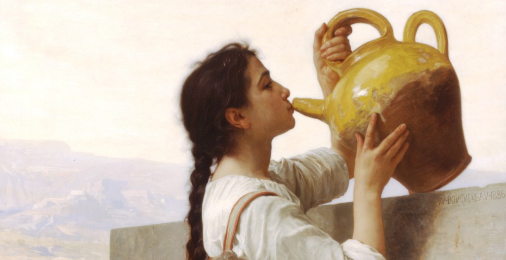Drink up what has leaked down to you inquisitive brothers and sisters (William Bourguereau, Thirst, 1886; Source: Wikimedia Commons, PD-Old-100).