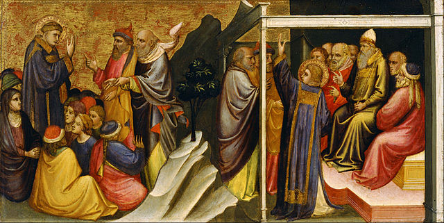 Everybody must get stoned (Mariotto di Nardo, St. Stephen before the High Priest and Elders of the Sanhedrin, 1408; Source: Wikimedia Commons, PD-Old-100).