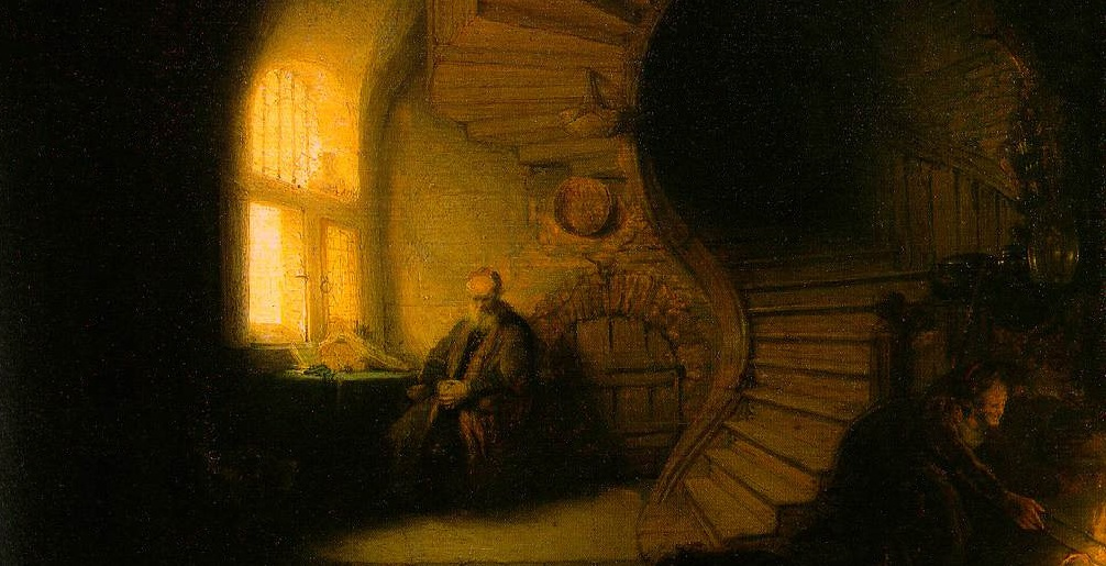 Meditation is something we usually associate with religion rather than philosophy, but that is a false modern dichotomy (Rembrandt, Philosopher in Meditation, 1632).