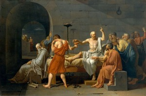 (Jean-Louis David, The Death of Socrates, 1787; Source: Wikimedia Commons, PD-Old-100).