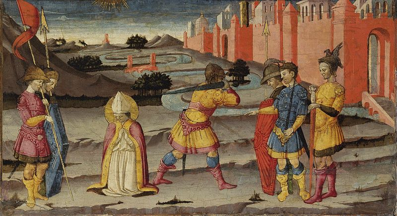 Don't lose your head. The blood of St. Januarius liquefies every September 19th (Neri di Bicci, Martyrdom of St. Januarius, 15th C.; Source: Wikimedia Commons, PD-Old-100).