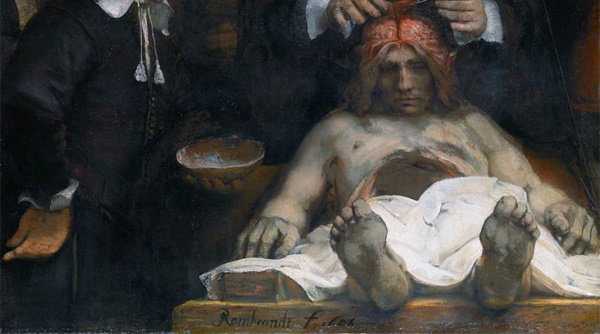 Theology is digging around in the discoveries of brain science (Rembrandt, Dr Deijman's Anatomy Lesson, 1656; Souce: Wikimedia Commons, PD-Old-100).